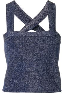 Derek Lam 10 Crosby Blusa Cropped Canelada De Luréx - Azul