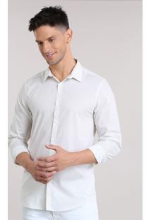 Camisa Slim Estampada Off White