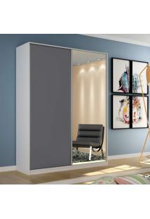 Guarda Roupa Solteiro Com Espelho 2 Portas De Correr Terrazo Siena Móveis Branco/Cinza