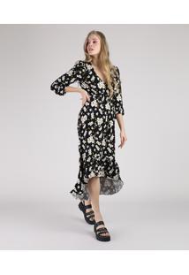 Vestido Feminino Longo Estampado Floral Manga Longa Preto