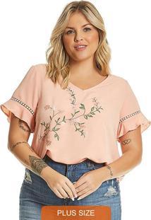 Blusa Plus Size Feminina Rosa