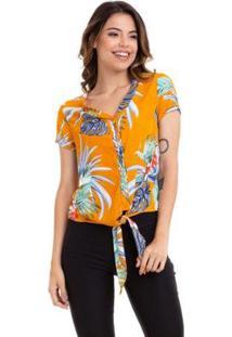 Blusa Kinara Cropped Crepe Estampada Amarração Na Cintura Feminina - Feminino-Amarelo+Roxo