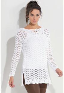 Blusa De Tricô Com Amarração Quintess Branca
