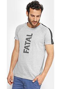 Camiseta Fatal Manga Curta Masculina - Masculino-Cinza Claro