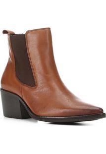 Bota Chelsea Shoestock Couro Cano Curto Feminina - Feminino-Café