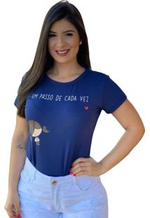Blusa T-Shirt Silk Um Passo De Cada Vez Azul Marinho - Azul/Azul Marinho - Feminino - Dafiti