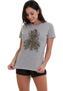 Camiseta Basica Joss Caveira Floral Cinza Mescla Dtg