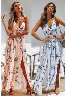 Vestidos Longos Florais Vazado Fendas