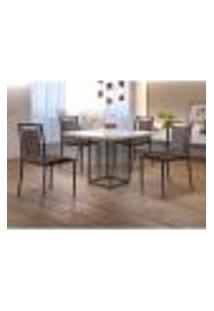 Conjunto De Mesa De Jantar Hera Com Tampo De Vidro Siena E 4 Cadeiras Grécia Ii Couríssimo Marrom E Grafite