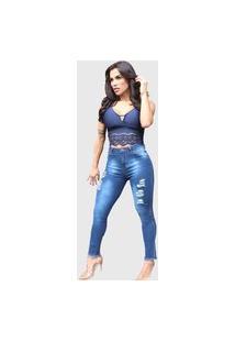 Calça Jeans Casual Feminina Cigarrete Com Zíper E Botão Escura Com Detalhes Rasgados