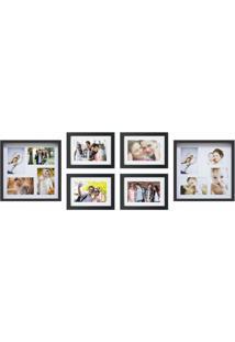 Conjunto De Painel E 4 Porta-Retratos 39X122 Cm Grande Familia Preto