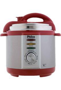 Panela De Pressão Elétrica 4L Prata/Vermelha Philco 220V