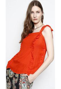 Blusa Com Botões & Babados - Vermelha- Ahaaha