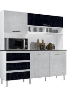 Cozinha Compacta Florença Branco/Preto/Gelo 4 Portas - Incorplac