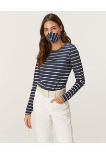 Blusa Listrada Viroblock® Feminina Malwee Azul Marinho - Xgg