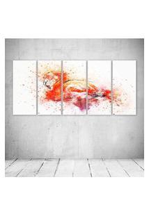 Quadro Decorativo - Flamingo - Composto De 5 Quadros