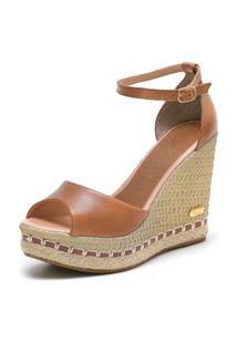 Sandália Sb Shoes Anabela Ref.3200 Whisky