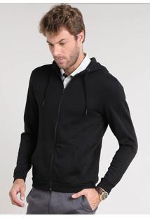 Blusão Masculino Slim Fit Em Moletom Com Recortes E Capuz Preto