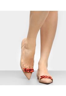 Sapatilha Couro Shoestock Corrente Resina Feminina - Feminino-Bege