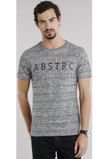 "Camiseta Masculina ""Abstrc"" Manga Curta Decote Careca Cinza Mescla"