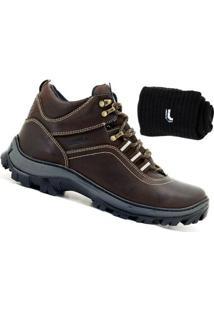 Kit Bota Adventure Atron Shoes Couro + Meia Lupo - Masculino