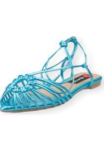 Sandalia Love Shoes Rasteira Bico Folha Amarração Tirinhas Metalizado Azul