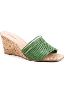 Mule Shoestock Anabela Tiras - Feminino-Verde