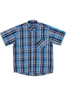 Camisa Xadrez Masculina Manga Curta Rodeo Western - Masculino-Azul