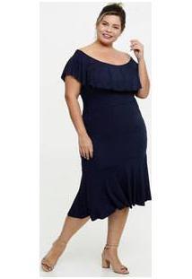 Vestido Feminino Midi Ombro A Ombro Babado Plus Size
