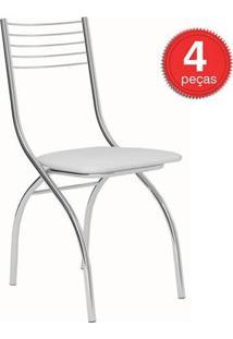 Cadeira-146-Cromada-04 Unidades-Napa/Branca-Carraro