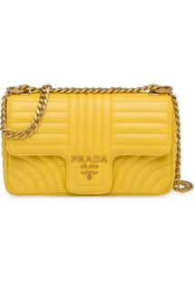 Prada Bolsa Tiracolo 'Diagramme' Média - Amarelo