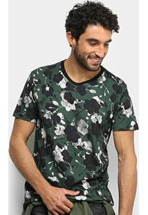 Camiseta Forum Floral Camuflada Masculina - Masculino-Verde+Preto