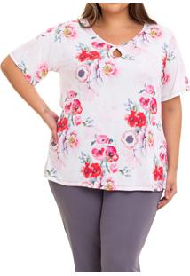 Pijama Longo Liganete Floral Papoula Sepie (2451) Plus Size, Estampado/Multicolorido, 48