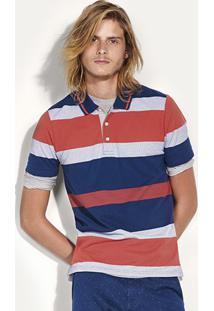 Camisa Polo Listrada Masculina Em Piquê Com Modelagem Regular