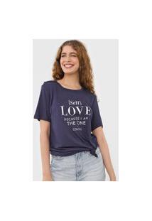 Camiseta Colcci Self Love Azul-Marinho