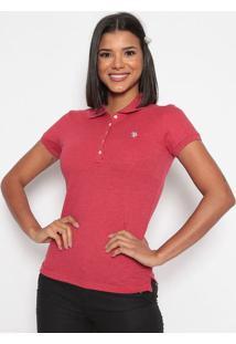 Polo Lisa Em Piqu㪠Bordada- Vermelhaus Polo