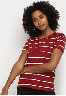 Blusa Hering Listrada Feminina - Feminino-Vermelho