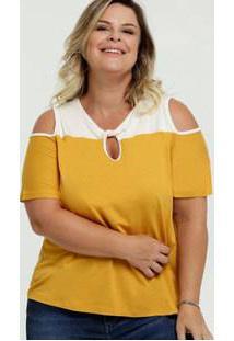 Blusa Feminina Open Shoulder Bicolor Manga Curta Plus Size