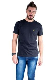 Camiseta Mister Fish Gola Careca Basic Top Hat Masculina - Masculino-Preto