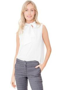 Camisa Lucy In The Sky Regata Gola Laço - Feminino-Off White