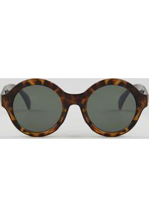 263e587dff885 ... Óculos De Sol Redondo Feminino Oneself Tartaruga - Único