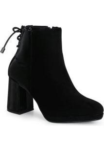 Ankle Boots Feminina Amarração Preto
