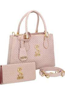Kit Bolsa Couro Handbag Tresse + Carteira Feminina - Feminino-Nude