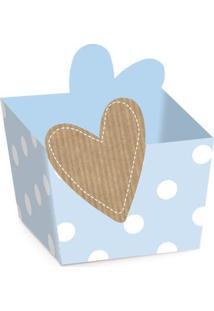 Acessórios Para Festa - Cachepot Para Doces - Chá Revelação - Coração Azul - 24 Un - Cromus