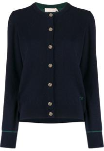 Tory Burch Embroidered Logo Cardigan - Azul