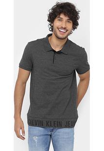 Camisa Polo Calvin Klein Piquet Recorte Barra Sk Jeans - Masculino