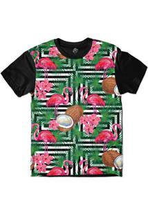 Camiseta Bsc Padrões E Listras Flamingos E Cocos Sublimada - Masculino-Branco