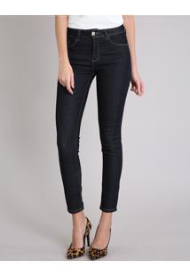 Calça Jeans Feminina Skinny Cintura Alta Azul Escuro