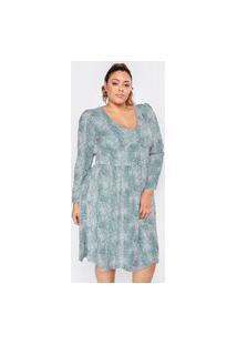 Vestido Almaria Plus Size Pianeta Longuete Estampado Animal Print Verde