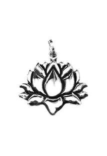 Pingente Flor De Lotus De Prata - Feminino-Prata